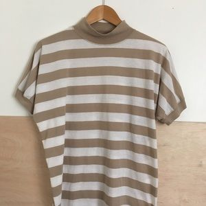 Vintage Tan And White Striped Mock Neck T-shirt